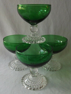 "4 Vintage 1950's Anchor Hocking Bubble Green Champagne Tall Sherbets 4""t"