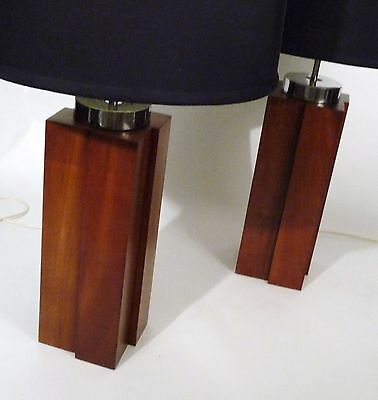 Pair Mid-Century Modernist Solid Cherry Architectural Retro Vintage Lamps