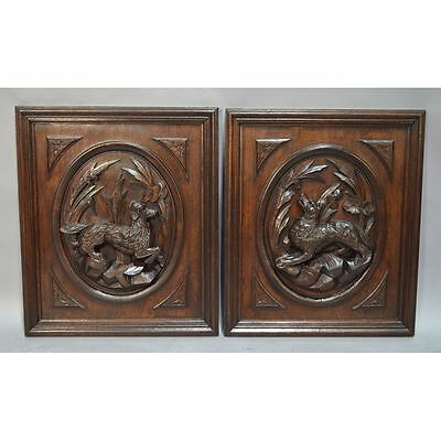 Pair Antique Carved Oak Louis Xiii / Hunt Style Architectural Salvaged Panels