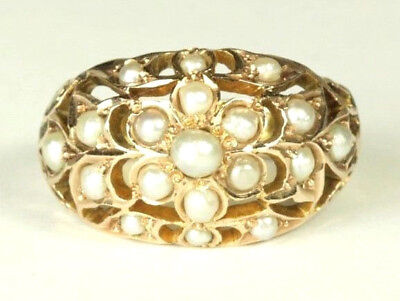 Vintage 14K Art Nouveau Seed Pearl Dome Ring