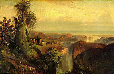 Art Oil painting Thomas Moran - People in worship ceremony on a Cliff landscape