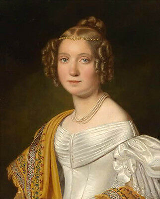 Art Oil painting portraits nice noblelady Young Queen with rare Pearl necklace