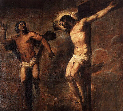 Dream-art hand painted Oil painting Tiziano Vecellio Christ and the Good Thief