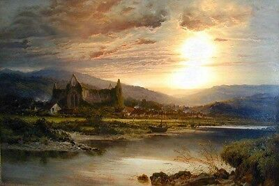 No framed Oil painting Tintern Abbey nice sunset landscape & house canoe river
