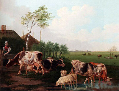 Oil painting A Summer Landscape With Cows drinking water free shipping cost