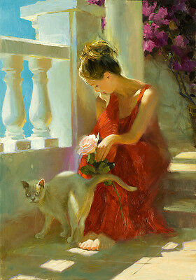 Nice Oil painting beautiful young girl holding a rose with her pet cat in view