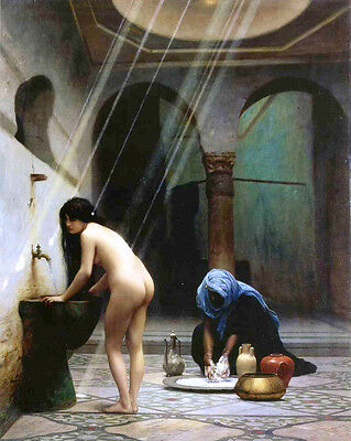 Stunning Oil painting naked young lady - Turkish women in the bathroom