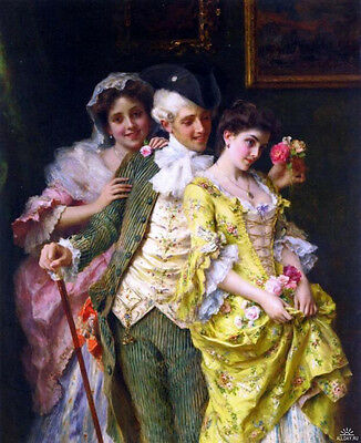 Nice Oil painting Federico Andreotti - Flirtation young man girls with flowers