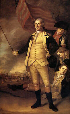 """Oil painting George Washington with his accompany On the battlefield canvas 36"""""""