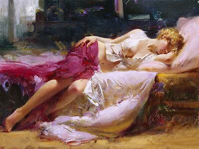 Huge Oil painting portraits young girl woman sleeping Dreaming-in-Color canvas