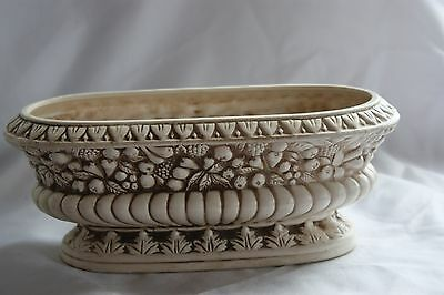 Beautiful Ivory Lefton #7508 Oval Planter With Embossed Fruit Pattern