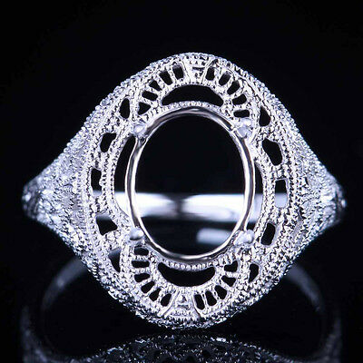 Solid 14K White Gold Milgrain Solitaire Semi Mount Oval Cut 10x8mm Wedding Ring
