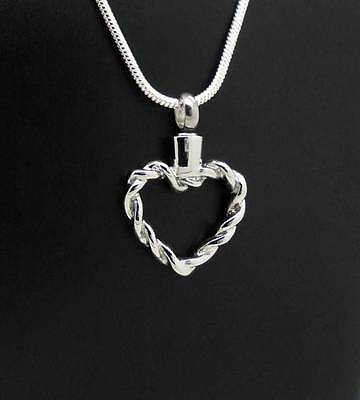 Two Twine Rope Heart Style Memorial Keepsake Cremation Funeral Pendant Jewellery