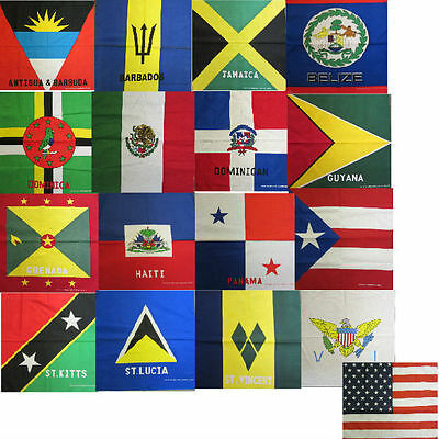 "Pick 1 "" Flag "" Design Bandana 100% Cotton 22 X 22"" Head Wrap Scarf"