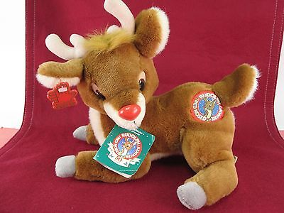 Vintage 1988 Applause Rudolph The Red Nose Reindeer Plush with Tags Rare