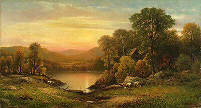 """Beautiful Oil painting Hyppolite Sebron - Lake View at Sunset with sheep 36"""""""
