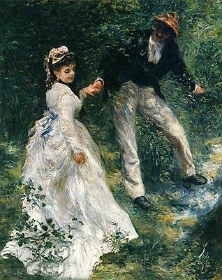 No framed Oil painting The Promenade young romantic lovers in forest by stream