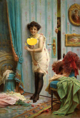 Dream-art Oil painting portraits nice young woman in her toilette free shipping