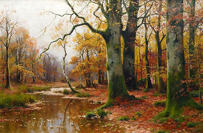 Oil painting Walter Moras - brook in autumn forest landscape no famed canvas