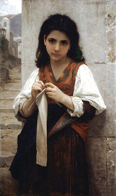 Huge Oil painting Bouguereau beautiful young girl portrait The Knitter canvas