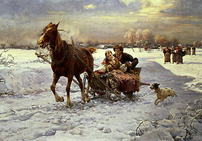 Dream-art Oil painting young couple on Horse-drawn sleigh in winter view & dog