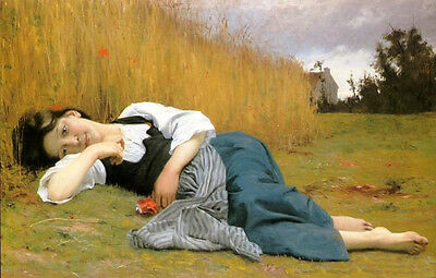 Nice Oil painting Bouguereau - Female portrait Young Girl Rest in Harvest canvas