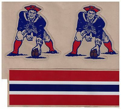 New England Patroits THROWBACK FULL SIZE FOOTBALL HELMET DECALS W/STRIPES