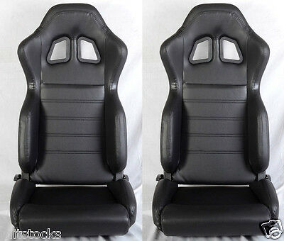 New 2 Black Pvc Leather Racing Seats + Slider Reclinable Pontiac New **