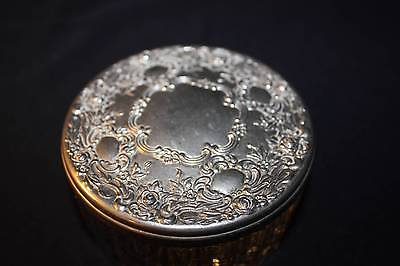 VINTAGE POWDER BOX/JAR WITH STERLING LID WITH MIRRORED BOTTOM