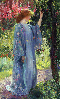 Huge oil painting Guy Rose - Young lady in The Blue Kimono in spring landscape