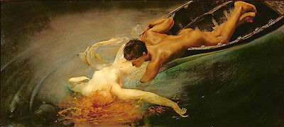 """Oil painting portraits naked young man Rescue the naked fallen girl canvas 36"""""""