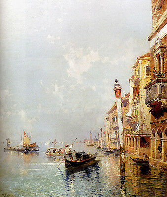 Huge Oil painting Giudecca Canal of Venice with sail boats canoes on the river