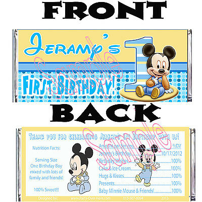 Baby Mickey Mouse 1st Birthday PERSONALIZED Candy Wrapper Party Favors-20 pc