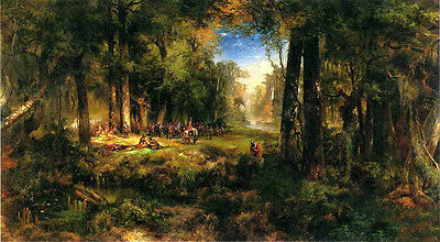 Large Oil painting Thomas Moran - Ponce de Leon in Florida Force in landscape