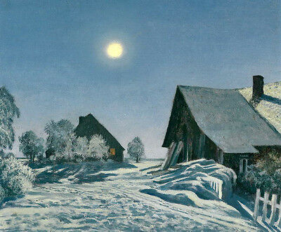 Stunning Oil painting winter snow landscape at moon night with village canvas