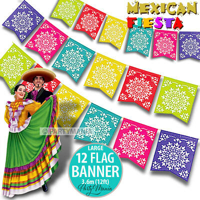 Mexican Fiesta Party Supplies Decorations Large Cutout Flag Bunting Banner