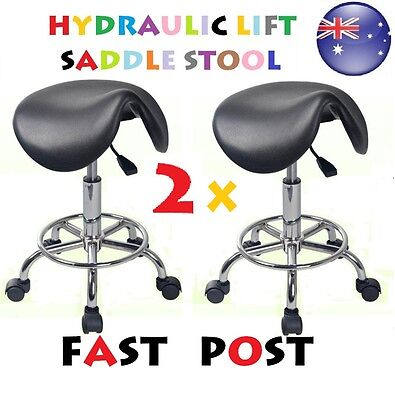 2 X SADDLE Stool Hydraulic GAS Lift Bar Chair Salon Massage Nail Furniture Black