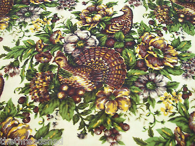 BTY Vintage Upholstery Fabric Ruffed Grouse Bird Beautiful Vibrant Quality 59W