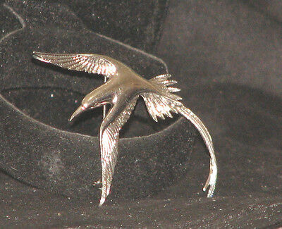 "sterling silver 925 art deco inspired hummingbird brooch Pin 3"" x 2"" 4 grams"