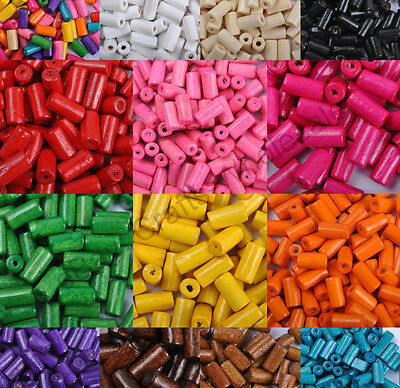 Lots 50pcs TUBE SHAPES & Charms WOOD Loose BEADS & Colors To Choose & 12X6MM