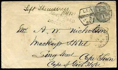 "Late Mail/Explanatory ""Advertised & Unclaimed"" 1885 6d Cape Town"