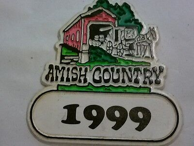 AMISH COUNTRY MAGNET (1999) WITH HORSE & BUGGY ON COVERED BRIDGE