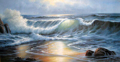 """Dream-art Oil painting seascape with nice ocean waves and rocks in sunset 36"""""""