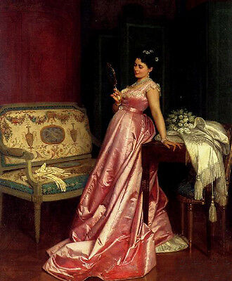 Classic art Oil painting The Admiring Glance - nice young lady with a mirror
