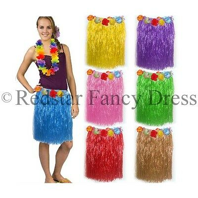 Ladies Hawaiian Grass Skirts + Lei - Summer Hula Aloha Party Garland Fancy Dress