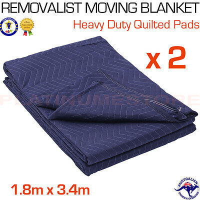 2 x Furniture Protection Moving Blankets Removalist Pads Quilted Padded Blanket