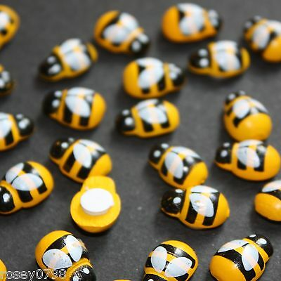 Mini wooden bees craft toppers wood card making x 100, Embellishment Toppers