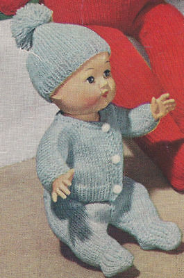 """Vintage Knitting PATTERN to make 11"""" Baby Doll Clothes Set Sweater Hat Gerald"""