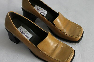0f27cb893c4 Women s Worthington Size 6.5 Tan Leather Slip on Loafer Pumps chunky Heels  Shoes