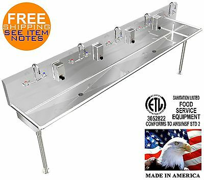 "Hand Sink Stainless Steel Heavy Duty 100"" 5 Person Manual Faucets (2) 2"" Drains"